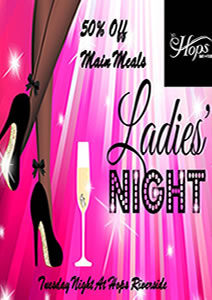 Hops Sports Bar at Riverside Hotel Ladies Night Tuesdays