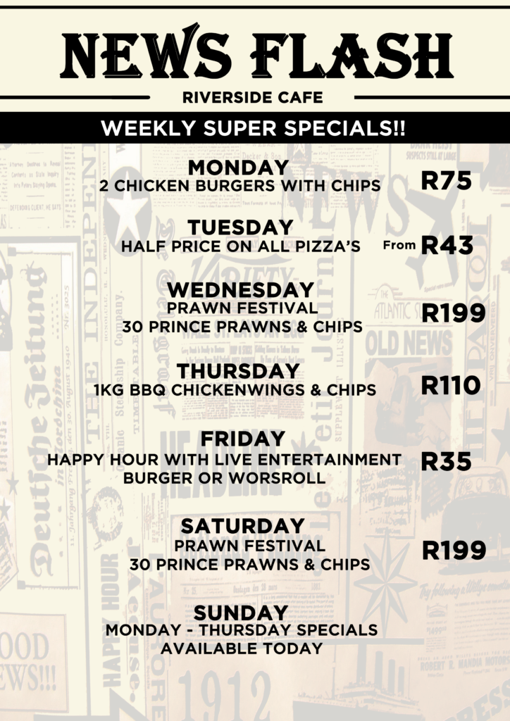 Riverside Cafe Specials in Durban
