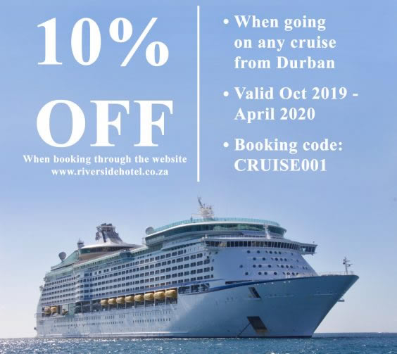 Sea Cruise Accommodation Specials at The Riverside Hotel in Durban